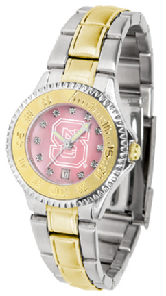 North Carolina State Wolfpack Competitor Ladies Watch with Mother of Pearl Dial and Two-Tone Band