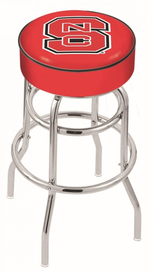 """North Carolina State Wolfpack (L7C1) 25"""" Tall Logo Bar Stool by Holland Bar Stool Company (with Double Ring Swivel Chrome Base)"""