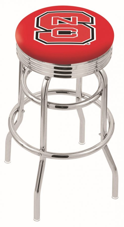 """North Carolina State Wolfpack (L7C3C) 30"""" Tall Logo Bar Stool by Holland Bar Stool Company (with Double Ring Swivel Chrome Base)"""