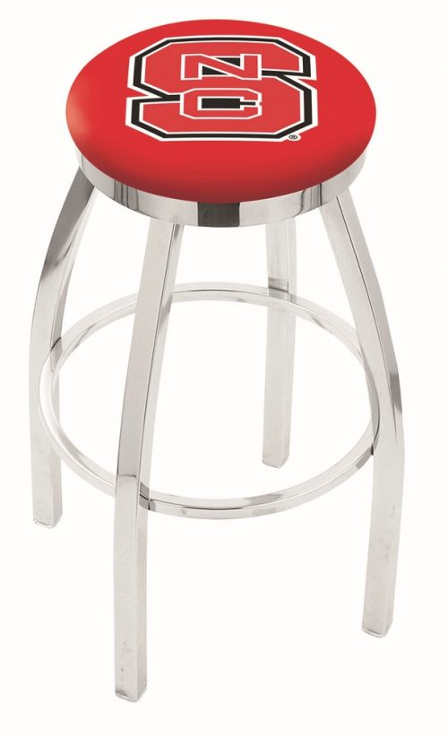 "North Carolina State Wolfpack (L8C2C) 25"" Tall Logo Bar Stool by Holland Bar Stool Company (with Single Ring Swivel Chrome Solid Welded Base)"