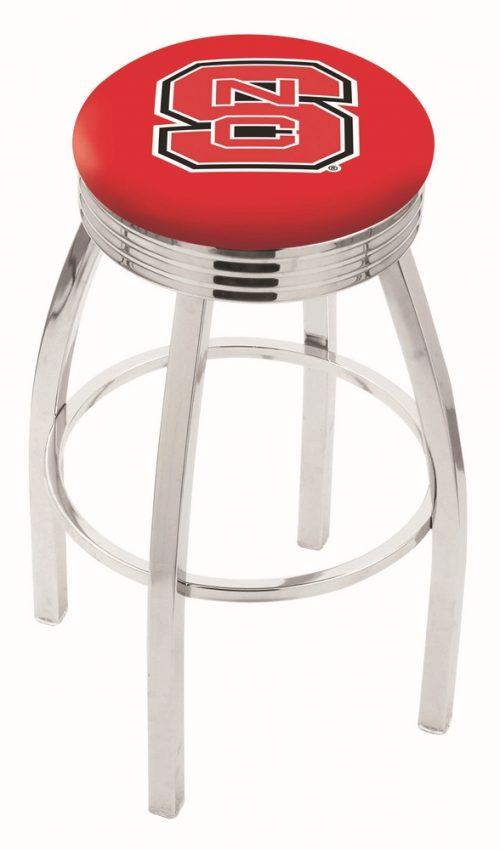 "North Carolina State Wolfpack (L8C3C) 25"" Tall Logo Bar Stool by Holland Bar Stool Company (with Single Ring Swivel Chrome Solid Welded Base)"