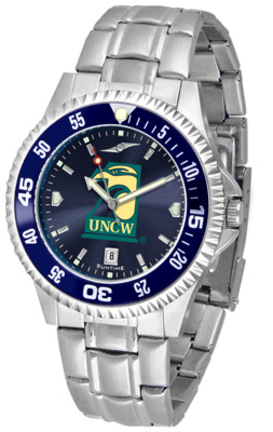 North Carolina (Wilmington) Seahawks Competitor AnoChrome Men's Watch with Steel Band and Colored Bezel