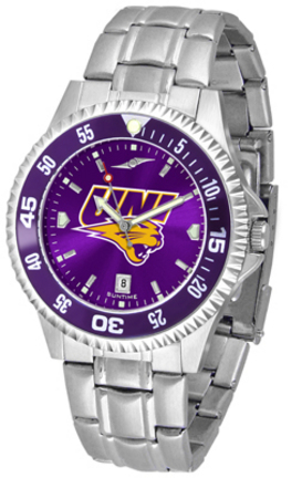 Northern Iowa Panthers Competitor AnoChrome Men's Watch with Steel Band and Colored Bezel