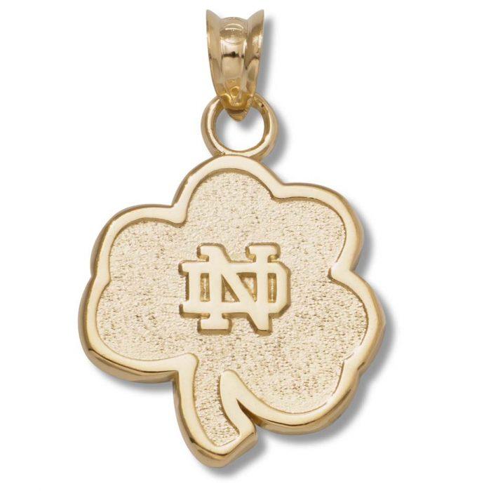 "Notre Dame Fighting Irish 5/8"" Shamrock Pendant - 10KT Gold Jewelry"