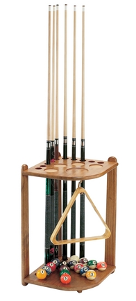 Oak 10 Cue Stick Corner Cue Stick Rack