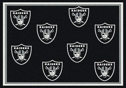 """Oakland Raiders 3' 10"""" x 5' 4"""" Team Repeat Area Rug (Black)"""