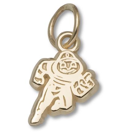 "Ohio State Buckeyes 3/8"" New Brutus Charm - 14KT Gold Jewelry"