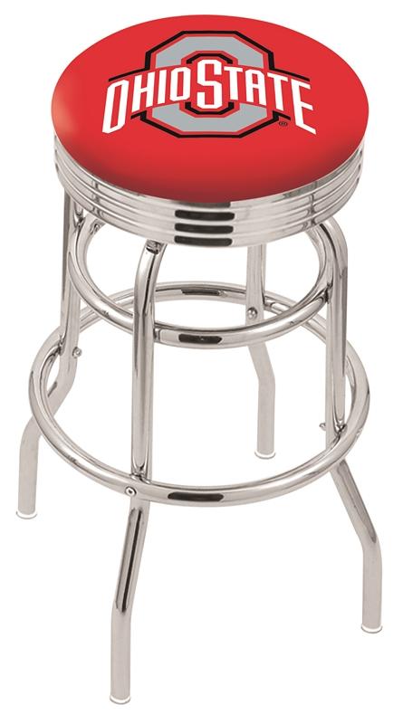 "Ohio State Buckeyes (L7C3C) 25"" Tall Logo Bar Stool by Holland Bar Stool Company (with Double Ring Swivel Chrome Base)"