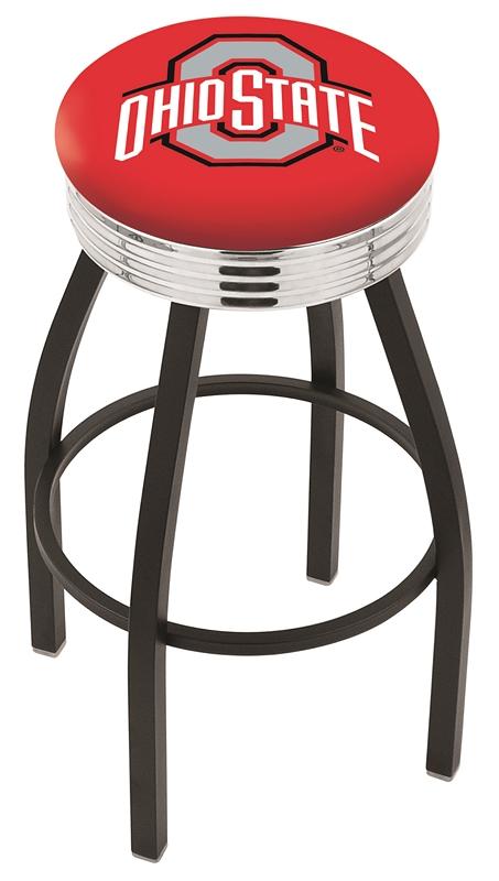 "Ohio State Buckeyes (L8B3C) 25"" Tall Logo Bar Stool by Holland Bar Stool Company (with Single Ring Swivel Black Solid Welded Base)"