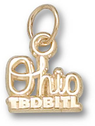 "Ohio State Buckeyes Script ""Ohio TBDBITL"" 1/4"" Charm - 14KT Gold Jewelry"