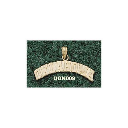 """Oklahoma Sooners Arched """"Oklahoma"""" Pendant - 10KT Gold Jewelry"""