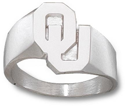 """Oklahoma Sooners """"OU"""" 5/8"""" Men's Ring Size 10 1/2 - Sterling Silver Jewelry"""