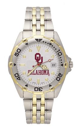"""Oklahoma Sooners """"OU OKLA"""" All Star Watch with Stainless Steel Band - Men's"""