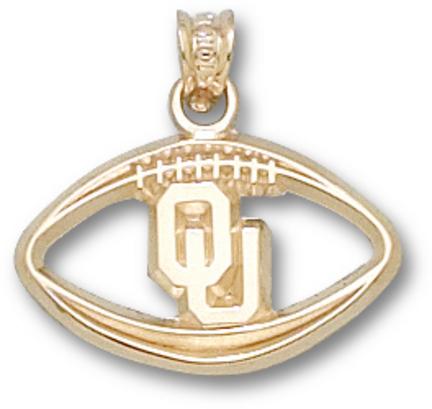"Oklahoma Sooners ""OU Pierced Football"" Pendant - 10KT Gold Jewelry"