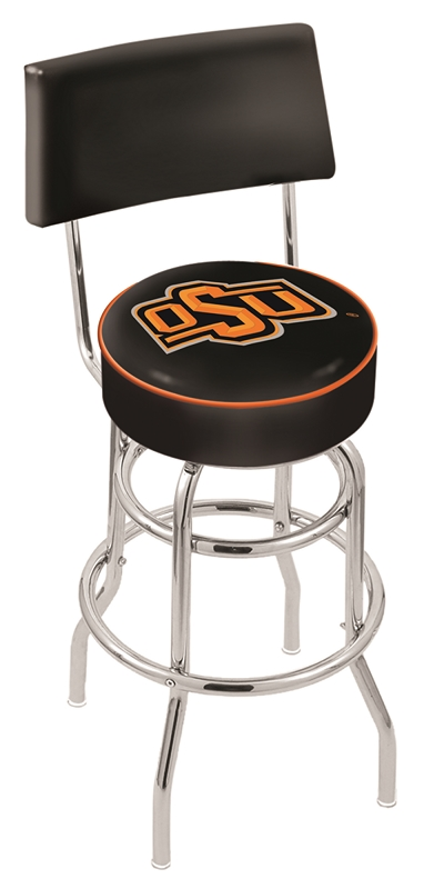"""Oklahoma State Cowboys (L7C4) 25"""" Tall Logo Bar Stool by Holland Bar Stool Company (with Double Ring Swivel Chrome Base and Chair Seat Back)"""