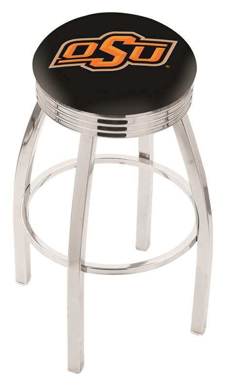 """Oklahoma State Cowboys (L8C3C) 25"""" Tall Logo Bar Stool by Holland Bar Stool Company (with Single Ring Swivel Chrome Solid Welded Base)"""