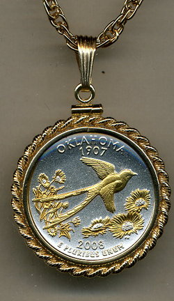 "Oklahoma Two Tone Rope Bezel Statehood Quarter Pendant with 18"" Rope Necklace"