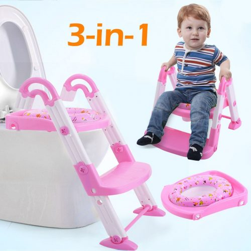 Online Gym Shop CB17185 Kids 3 in 1 Toilet Potty Training Chair Seat Step Ladder Pink