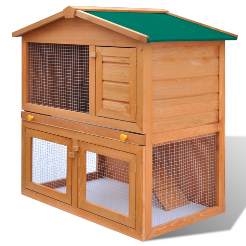 Online Gym Shop CB17593 Outdoor Rabbit Hutch Small Animal House Pet Cage 3 Doors Wood