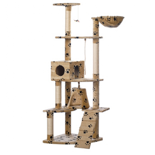 Online Gym Shop CB17633 Cat Tree with Paw Prints Plush Beige - 75 in.