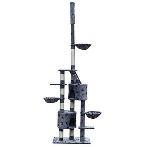 Online Gym Shop CB17641 Cat Tree Cuddles with Paw Prints Plush Gray - 90 - 102 in. & Extra Large