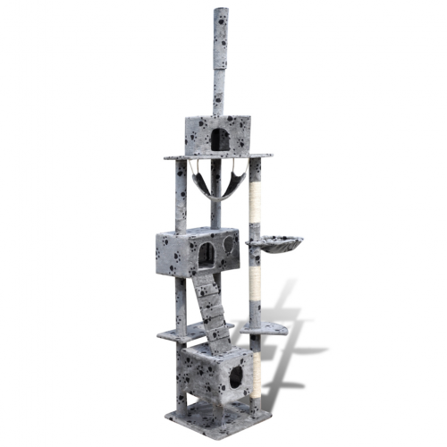 Online Gym Shop CB17666 Cat Tree Scratching Post 3 Condos with Paw Prints Gray - 87 - 94 in.