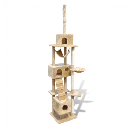 Online Gym Shop CB17667 Cat Tree Scratching Post 3 Condos Beige - 87 - 94 in.