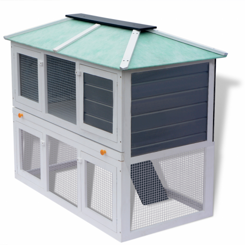 Online Gym Shop CB17680 Animal Rabbit Cage Double Floor Wood