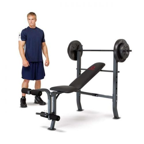 Online Gym Shop CB17687 Marcy Standard Bench with 80 lbs Weight Set