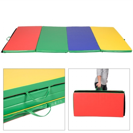 OnlineGymShop CB15389 4 x 8 x 2 in. Gymnastics Tumbling & Martial Arts Folding Mat, Multi Color