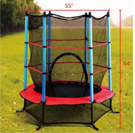 OnlineGymShop CB16131 55 in. Trampoline Jumping with Safety Pad Enclosure Combo Exercise Black & Red