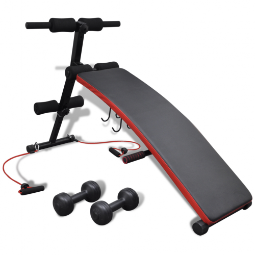 OnlineGymShop CB19093 Adjustable Multifunctional Sit Up Bench with 6.6 lbs Dumbbells Black & Red