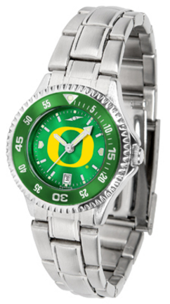 Oregon Ducks Competitor AnoChrome Ladies Watch with Steel Band and Colored Bezel