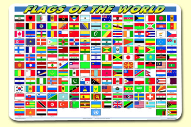 Painless Learning FLG-1 Flags Of The World Placemat
