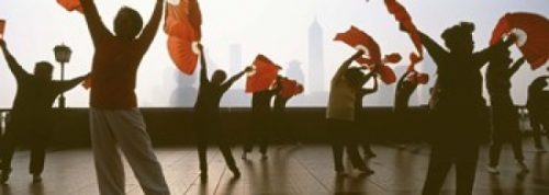 Panoramic Images PPI87600L Morning Exercise The Bund Shanghai China Poster Print by Panoramic Images - 36 x 12