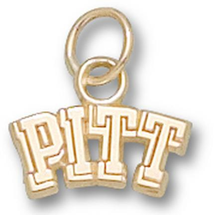 """Pittsburgh Panthers 1/4"""" """"Pitt"""" Charm - 14KT Gold Jewelry"""