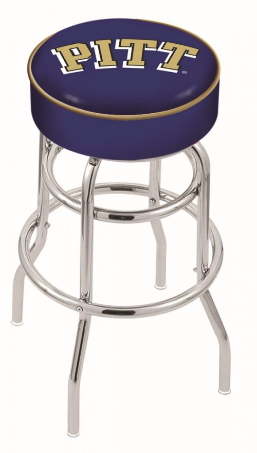 """Pittsburgh Panthers (L7C1) 25"""" Tall Logo Bar Stool by Holland Bar Stool Company (with Double Ring Swivel Chrome Base)"""