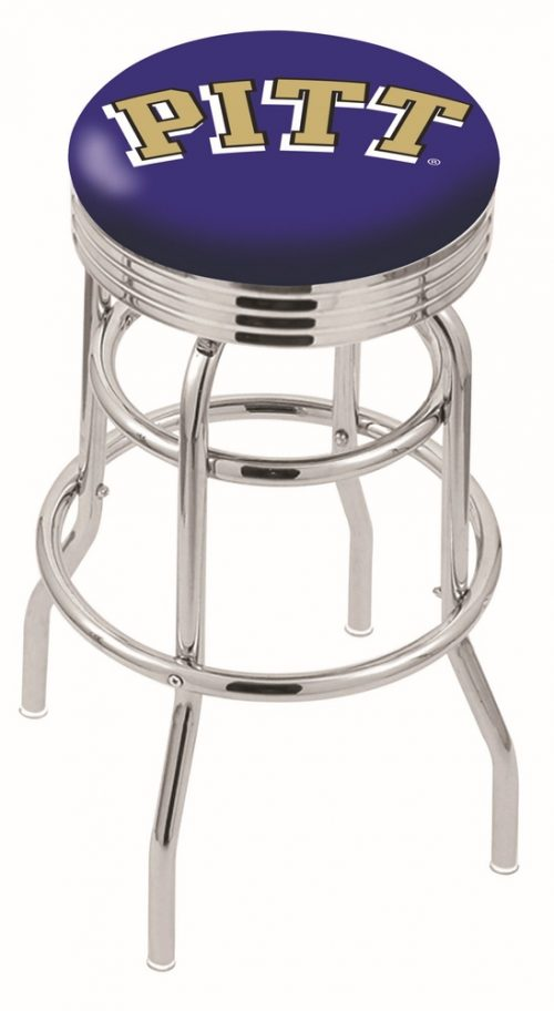 """Pittsburgh Panthers (L7C3C) 30"""" Tall Logo Bar Stool by Holland Bar Stool Company (with Double Ring Swivel Chrome Base)"""