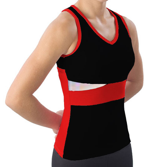 Pizzazz Performance Wear 5700 -BLKRED-YXS 5700 Youth Panel Top with Keyhole - Black with Red - Youth X-Small