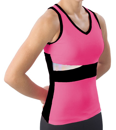 Pizzazz Performance Wear 5800 -HPKBLK-AM 5800 Adult Panel Top with Keyhole - Hot Pink with Black - Adult Medium