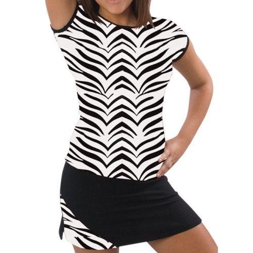 Pizzazz Performance Wear 6800AP -ZEB -AL 6800AP Adult Animal Print Cap Sleeve Tee - Zebra - Adult Large