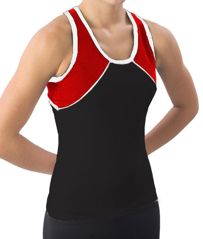 Pizzazz Performance Wear 7700 -BLKRED-YM 7700 Youth Tri-Color Top - Black with Red - Youth Medium