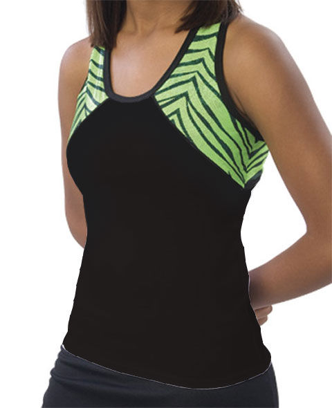 Pizzazz Performance Wear 7700ZGBLKLIMYM 7700ZG Youth Zebra Glitter Tri-Color Top - Black with Lime - Youth Medium