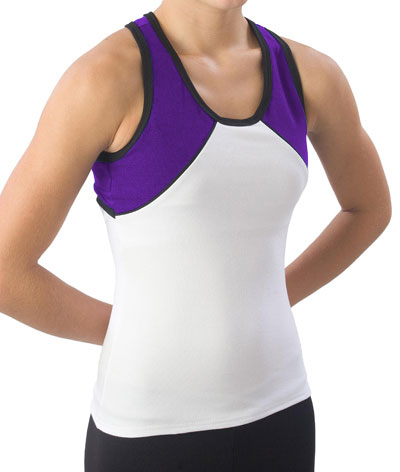 Pizzazz Performance Wear 7800 -WHTPUR-AM 7800 Adult Tri-Color Top - White with Purple - Adult Medium