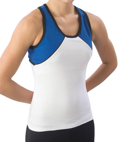 Pizzazz Performance Wear 7800 -WHTROY-AM 7800 Adult Tri-Color Top - White with Royal - Adult Medium