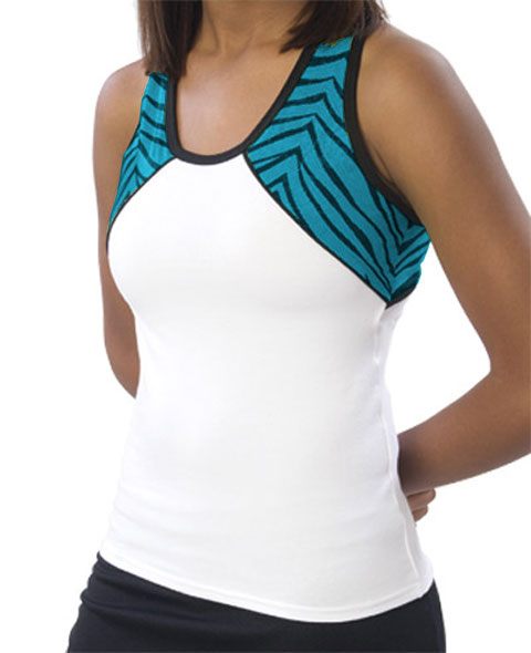 Pizzazz Performance Wear 7800ZGWHTTRQ2XL 7800ZG Adult Zebra Glitter Tri-Color Top - White with Turquoise - 2XL