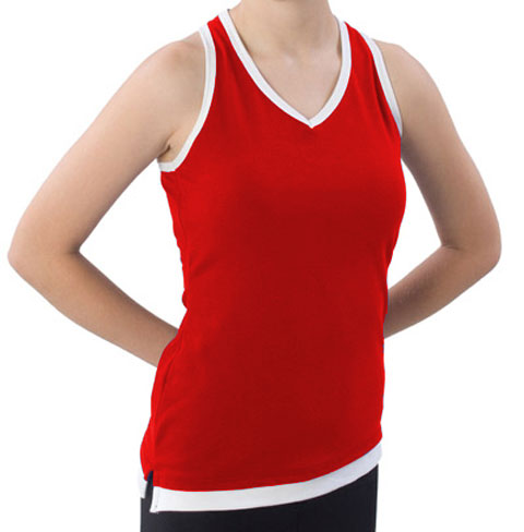 Pizzazz Performance Wear 8700 -REDWHT-YXS 8700 Youth Layered Look Top - Red with White - Youth X-Small
