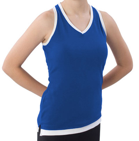 Pizzazz Performance Wear 8700 -ROYWHT-YXS 8700 Youth Layered Look Top - Royal with White - Youth X-Small