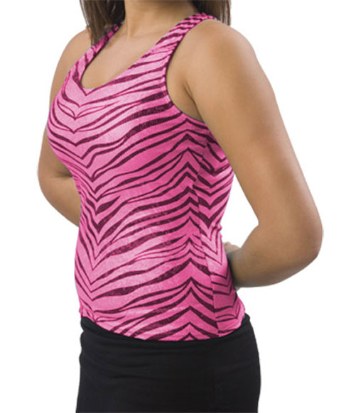 Pizzazz Performance Wear 9400ZGHPKBLKAM 9400ZG Adult Zebra Glitter Racer Back Top - Hot Pink with Black - Adult Medium