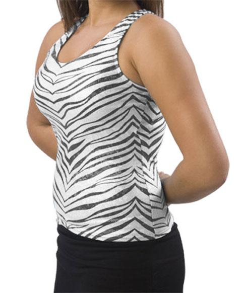 Pizzazz Performance Wear 9400ZGWHTBLKAM 9400ZG Adult Zebra Glitter Racer Back Top - White with Black - Adult Medium